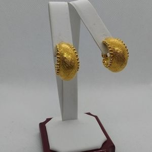 Monet Chunky Gold Textured Hoops, Hoop Earrings